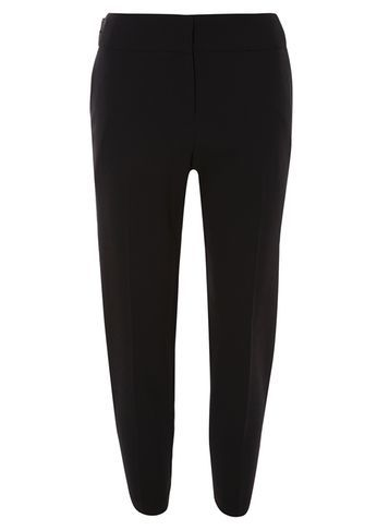 Womens Black Twill Trousers Black - pattern: plain; style: peg leg; waist: mid/regular rise; predominant colour: black; occasions: casual, creative work; length: ankle length; fibres: polyester/polyamide - 100%; fit: tapered; pattern type: fabric; texture group: other - light to midweight; season: s/s 2016; wardrobe: basic