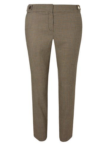 Womens Navy Check Trousers Blue - length: standard; pattern: checked/gingham; waist: mid/regular rise; predominant colour: chocolate brown; occasions: work, creative work; fibres: polyester/polyamide - mix; fit: straight leg; pattern type: fabric; texture group: woven light midweight; style: standard; pattern size: standard (bottom); season: s/s 2016