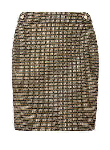 Womens Navy Check Mini Skirt Blue - length: mini; pattern: checked/gingham; fit: tailored/fitted; waist: mid/regular rise; predominant colour: navy; secondary colour: chocolate brown; style: mini skirt; fibres: polyester/polyamide - mix; pattern type: fabric; texture group: jersey - stretchy/drapey; occasions: creative work; pattern size: standard (bottom); season: s/s 2016; wardrobe: highlight