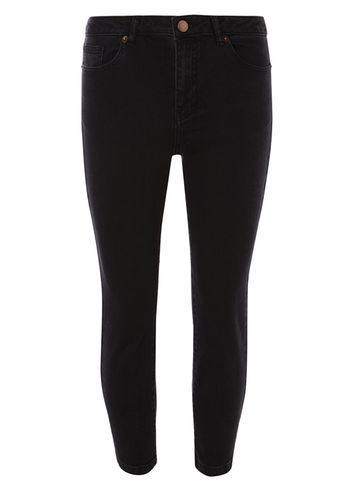 Womens Black Fasion Cropped Kickflare Jeans Black - style: skinny leg; pattern: plain; pocket detail: traditional 5 pocket; waist: mid/regular rise; predominant colour: black; occasions: casual; length: ankle length; fibres: cotton - stretch; texture group: denim; pattern type: fabric; season: s/s 2016; wardrobe: basic