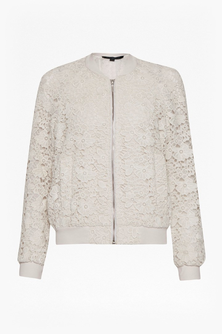 Sasha Lace Bomber Jacket Summer White - collar: round collar/collarless; style: bomber; predominant colour: ivory/cream; occasions: casual, creative work; length: standard; fit: straight cut (boxy); fibres: polyester/polyamide - 100%; hip detail: subtle/flattering hip detail; sleeve length: long sleeve; sleeve style: standard; texture group: lace; collar break: high; pattern type: fabric; pattern: patterned/print; season: s/s 2016; wardrobe: highlight