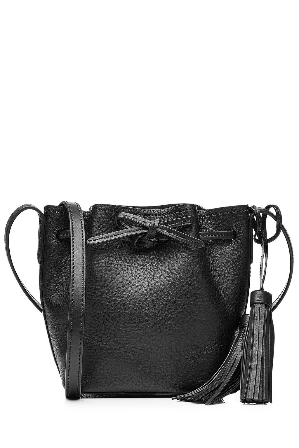 Bucket Shoulder Bag With Tassels Black - predominant colour: black; occasions: casual, creative work; type of pattern: standard; style: shoulder; length: shoulder (tucks under arm); size: standard; material: leather; pattern: plain; finish: plain; season: s/s 2016