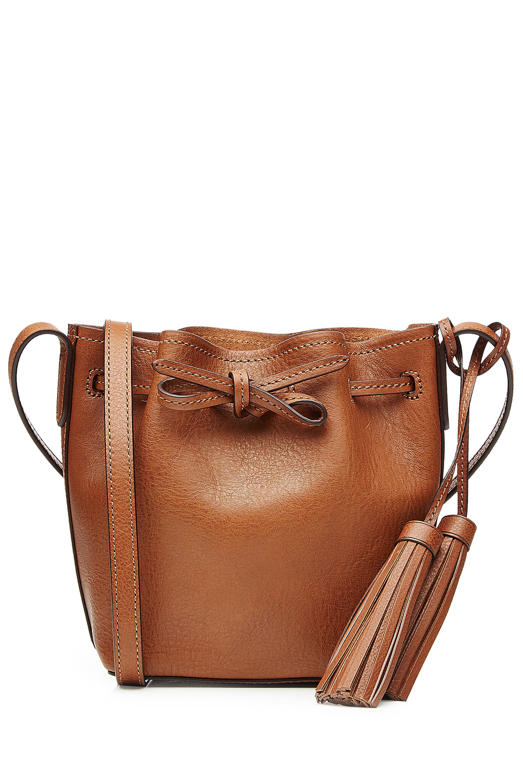 Bucket Shoulder Bag With Tassels Brown - predominant colour: camel; occasions: casual, creative work; type of pattern: standard; style: shoulder; length: shoulder (tucks under arm); size: standard; material: leather; embellishment: tassels; pattern: plain; finish: plain; season: s/s 2016; wardrobe: investment