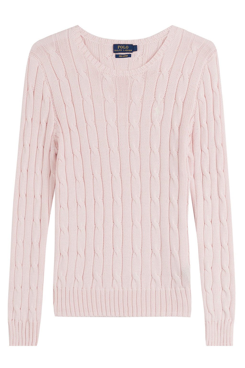 Cotton Cable Knit Pullover Pink - neckline: round neck; style: standard; pattern: cable knit; predominant colour: blush; occasions: casual, work, creative work; length: standard; fibres: cotton - 100%; fit: standard fit; sleeve length: long sleeve; sleeve style: standard; texture group: knits/crochet; pattern type: knitted - fine stitch; pattern size: standard; season: s/s 2016