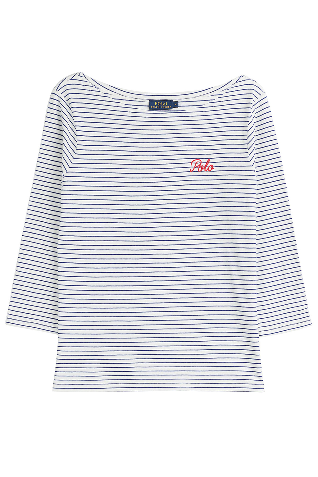 Cotton Boatneck Top Stripes - neckline: slash/boat neckline; pattern: horizontal stripes; predominant colour: navy; occasions: casual, creative work; length: standard; style: top; fibres: cotton - 100%; fit: body skimming; sleeve length: 3/4 length; sleeve style: standard; pattern type: fabric; pattern size: standard; texture group: jersey - stretchy/drapey; season: s/s 2016; wardrobe: basic
