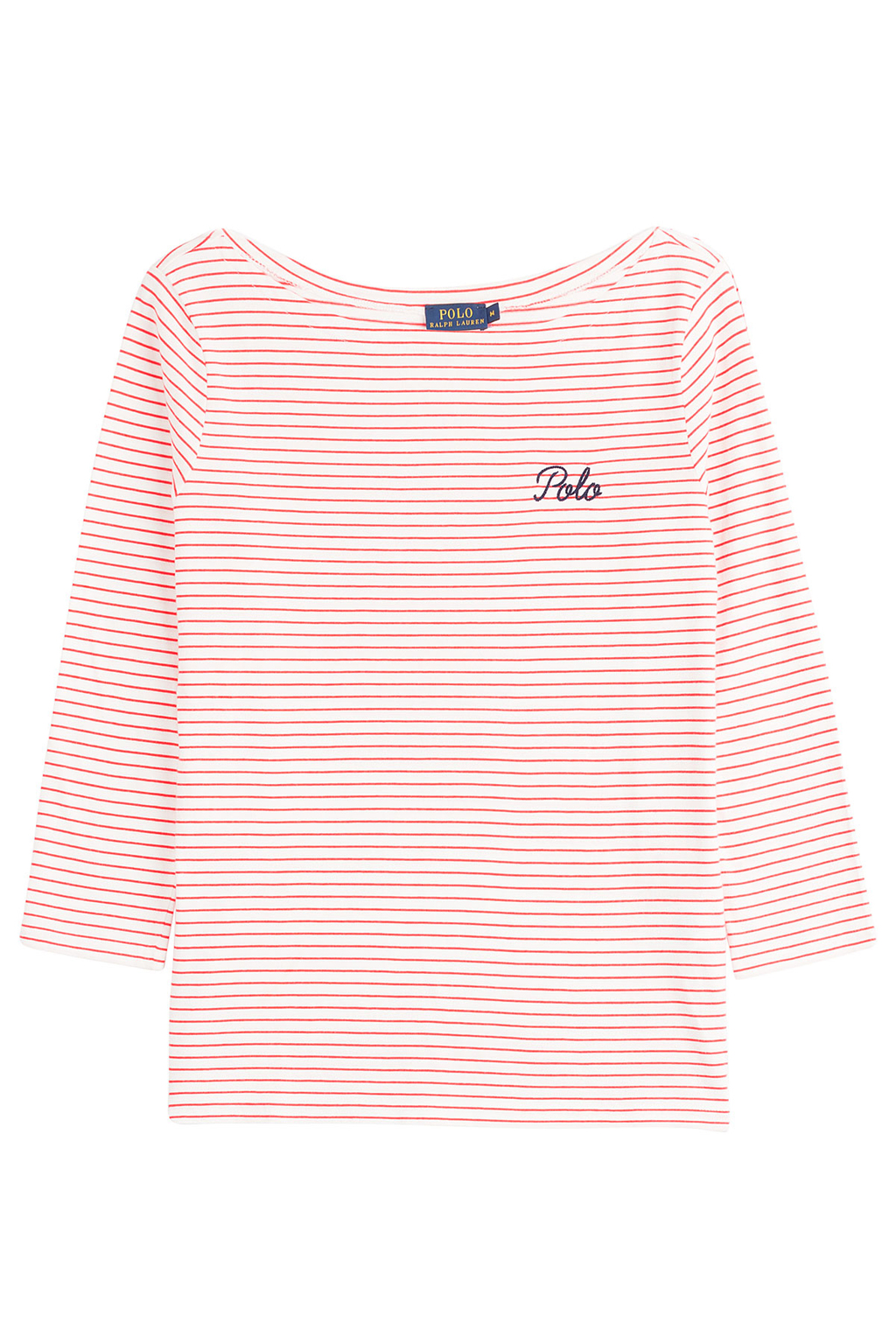 Cotton Boatneck Top Red - neckline: round neck; pattern: horizontal stripes; style: t-shirt; secondary colour: white; predominant colour: coral; occasions: casual, creative work; length: standard; fibres: cotton - 100%; fit: body skimming; sleeve length: 3/4 length; sleeve style: standard; texture group: jersey - clingy; pattern type: fabric; pattern size: standard; embellishment: embroidered; season: s/s 2016; wardrobe: highlight