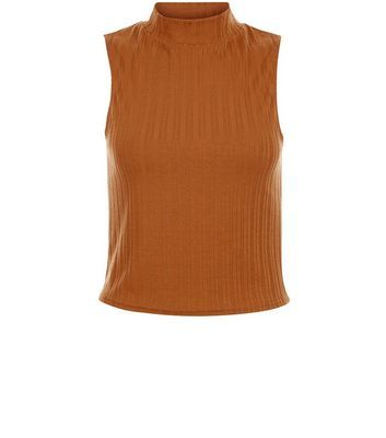 Rust Ribbed Sleeveless Turtle Neck Top - pattern: plain; sleeve style: sleeveless; neckline: high neck; predominant colour: mustard; occasions: casual; length: standard; style: top; fibres: polyester/polyamide - stretch; fit: body skimming; sleeve length: sleeveless; pattern type: fabric; texture group: jersey - stretchy/drapey; season: s/s 2016