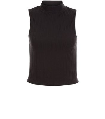 Black Ribbed Sleeveless Turtle Neck Top - pattern: plain; sleeve style: sleeveless; neckline: high neck; predominant colour: black; occasions: casual; length: standard; style: top; fibres: polyester/polyamide - stretch; fit: body skimming; sleeve length: sleeveless; pattern type: fabric; texture group: jersey - stretchy/drapey; season: s/s 2016; wardrobe: basic