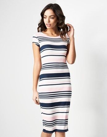 Stripe Midi Bodycon Dress - style: shift; length: below the knee; neckline: round neck; sleeve style: capped; pattern: horizontal stripes; secondary colour: white; predominant colour: navy; fit: body skimming; fibres: cotton - stretch; sleeve length: short sleeve; pattern type: fabric; pattern size: standard; texture group: jersey - stretchy/drapey; occasions: creative work; season: s/s 2016; wardrobe: highlight