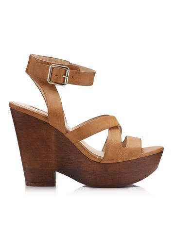 Womens Marisol Tan Wedge Sandal, Tan - predominant colour: tan; occasions: casual, holiday; material: faux leather; ankle detail: ankle strap; heel: wedge; toe: open toe/peeptoe; style: strappy; finish: plain; pattern: plain; heel height: very high; shoe detail: platform; season: s/s 2016; wardrobe: highlight