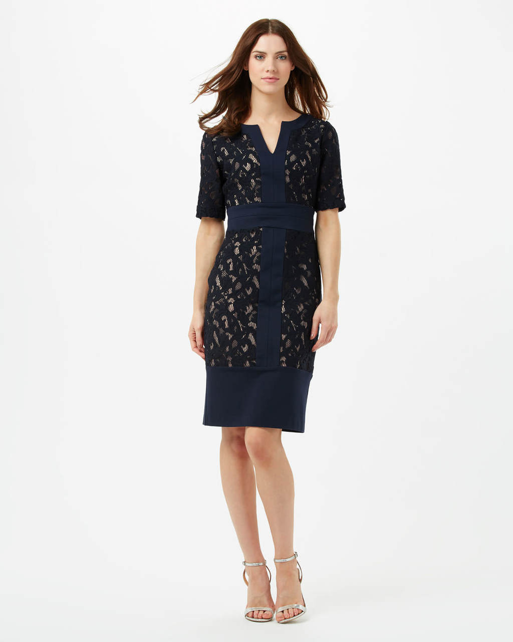 Luisa Lace Ponte Dress - style: shift; neckline: v-neck; fit: tailored/fitted; waist detail: belted waist/tie at waist/drawstring; predominant colour: navy; secondary colour: stone; length: just above the knee; fibres: viscose/rayon - stretch; occasions: occasion; sleeve length: short sleeve; sleeve style: standard; texture group: lace; pattern type: fabric; pattern size: standard; pattern: patterned/print; embellishment: lace; season: s/s 2016