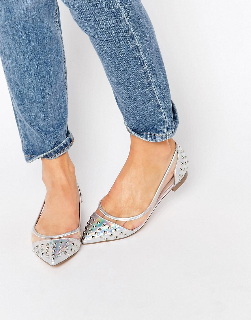 Lara Studded Ballet Flats Silver - predominant colour: silver; occasions: casual, creative work; material: faux leather; heel height: flat; embellishment: crystals/glass; toe: pointed toe; style: ballerinas / pumps; finish: metallic; pattern: plain; season: s/s 2016; wardrobe: basic