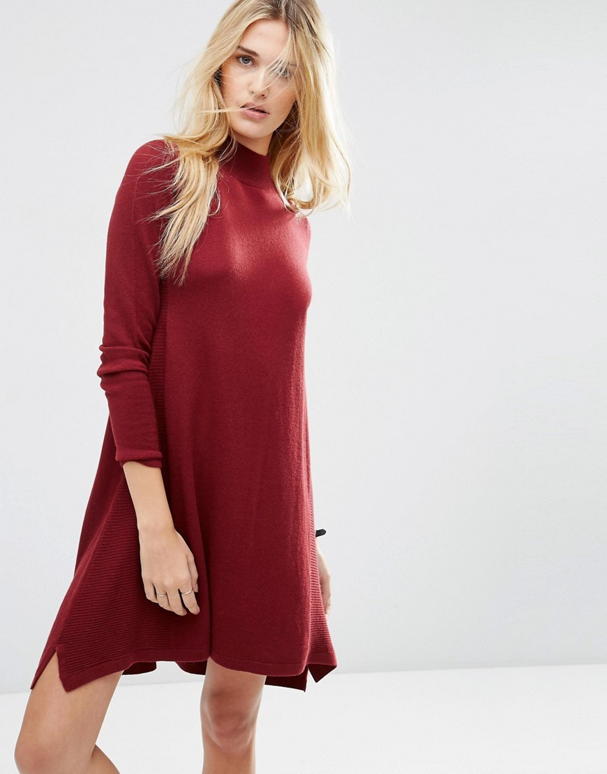Knit Tunic Dress In Cashmere Mix Dark Red - style: jumper dress; fit: loose; pattern: plain; neckline: high neck; occasions: casual, creative work; length: just above the knee; fibres: cotton - mix; sleeve length: long sleeve; sleeve style: standard; texture group: knits/crochet; pattern type: knitted - fine stitch; predominant colour: raspberry; season: s/s 2016; wardrobe: highlight