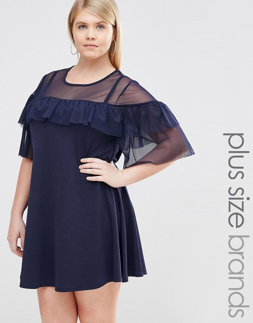 Mesh Insert Ruffle Swing Dress Navy - style: trapeze; length: mid thigh; fit: loose; pattern: plain; predominant colour: navy; occasions: evening; fibres: polyester/polyamide - stretch; neckline: crew; sleeve length: 3/4 length; sleeve style: standard; bust detail: bulky details at bust; pattern type: fabric; texture group: jersey - stretchy/drapey; season: s/s 2016; wardrobe: event