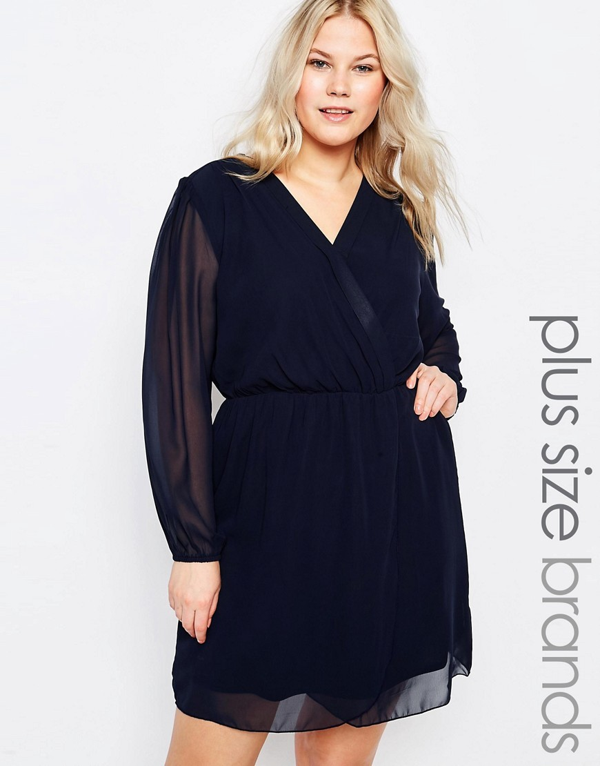 Plus Wrap Dress Navy - style: faux wrap/wrap; neckline: v-neck; pattern: plain; predominant colour: navy; occasions: evening; length: just above the knee; fit: body skimming; fibres: polyester/polyamide - 100%; sleeve length: long sleeve; sleeve style: standard; texture group: sheer fabrics/chiffon/organza etc.; pattern type: fabric; season: s/s 2016; wardrobe: event