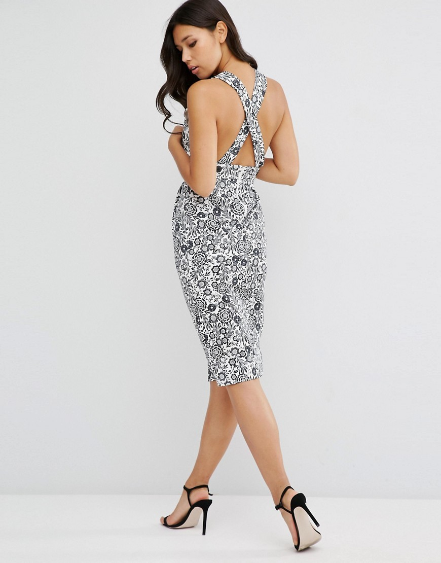 Mono Floral Pencil Dress With Cross Back Black / Ivory - length: below the knee; neckline: high square neck; fit: tight; sleeve style: sleeveless; style: bodycon; secondary colour: white; predominant colour: black; occasions: evening; fibres: cotton - stretch; back detail: crossover; sleeve length: sleeveless; texture group: jersey - clingy; pattern type: fabric; pattern: florals; multicoloured: multicoloured; season: s/s 2016; wardrobe: event