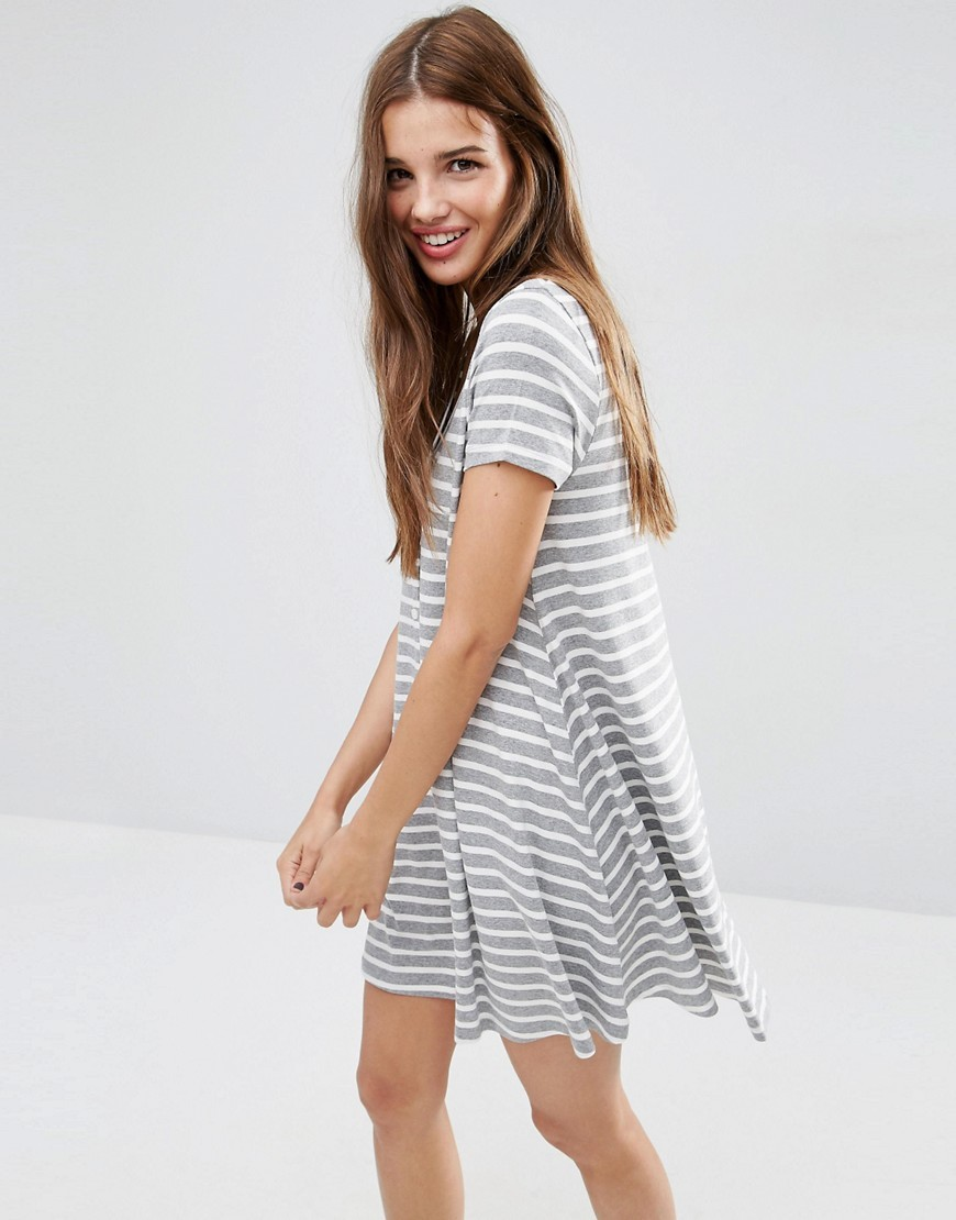 Short Sleeve Swing Dress In Stripe Print With Button Through Multi - style: trapeze; length: mid thigh; fit: loose; pattern: horizontal stripes; secondary colour: white; predominant colour: light grey; occasions: casual; fibres: viscose/rayon - stretch; neckline: crew; sleeve length: short sleeve; sleeve style: standard; pattern type: fabric; texture group: jersey - stretchy/drapey; multicoloured: multicoloured; season: s/s 2016; wardrobe: basic