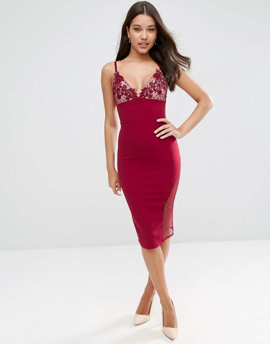 Lace Cup Dobby Midi Bodycon Scuba Dress Burgundy - length: below the knee; neckline: low v-neck; sleeve style: spaghetti straps; fit: tight; pattern: plain; style: bodycon; predominant colour: burgundy; occasions: evening; fibres: polyester/polyamide - stretch; sleeve length: sleeveless; texture group: jersey - clingy; pattern type: fabric; embellishment: lace; season: s/s 2016; wardrobe: event; embellishment location: bust