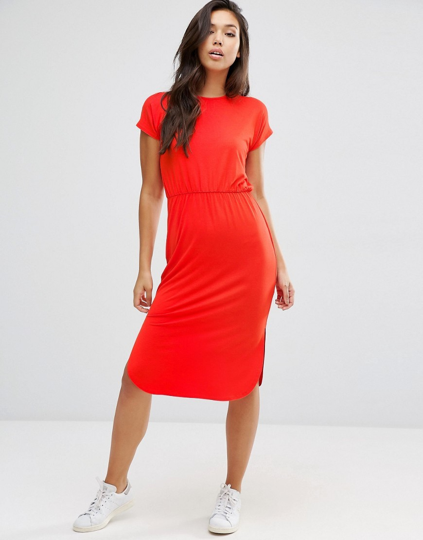 Waisted T Shirt Midi Dress Red - style: t-shirt; length: below the knee; pattern: plain; predominant colour: bright orange; occasions: casual; fit: body skimming; fibres: viscose/rayon - stretch; neckline: crew; sleeve length: short sleeve; sleeve style: standard; pattern type: fabric; texture group: jersey - stretchy/drapey; season: s/s 2016; wardrobe: highlight