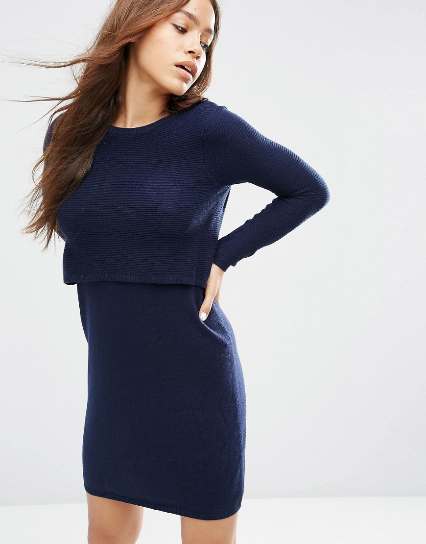 2 In 1 Knit Dress In Cashmere Mix Navy - style: jumper dress; pattern: plain; bust detail: subtle bust detail; predominant colour: navy; occasions: casual; length: just above the knee; fit: body skimming; fibres: cotton - mix; neckline: crew; sleeve length: long sleeve; sleeve style: standard; texture group: knits/crochet; pattern type: knitted - other; season: s/s 2016; wardrobe: basic