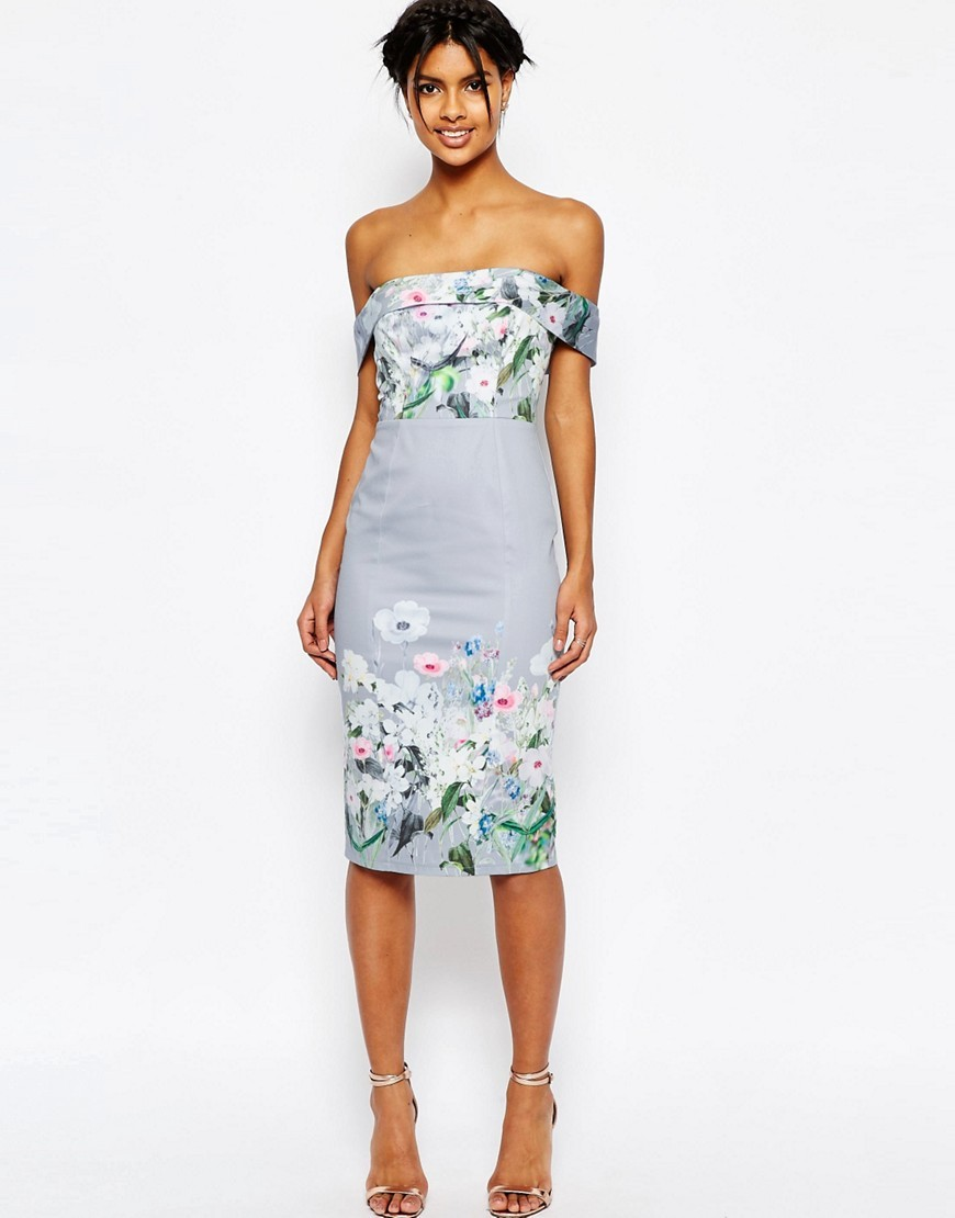 Grey Border Floral Midi Pencil Dress Multi - length: below the knee; neckline: off the shoulder; sleeve style: capped; fit: tight; style: bodycon; secondary colour: white; predominant colour: pale blue; occasions: evening; fibres: cotton - stretch; sleeve length: sleeveless; texture group: jersey - clingy; pattern type: fabric; pattern: florals; multicoloured: multicoloured; season: s/s 2016; wardrobe: event