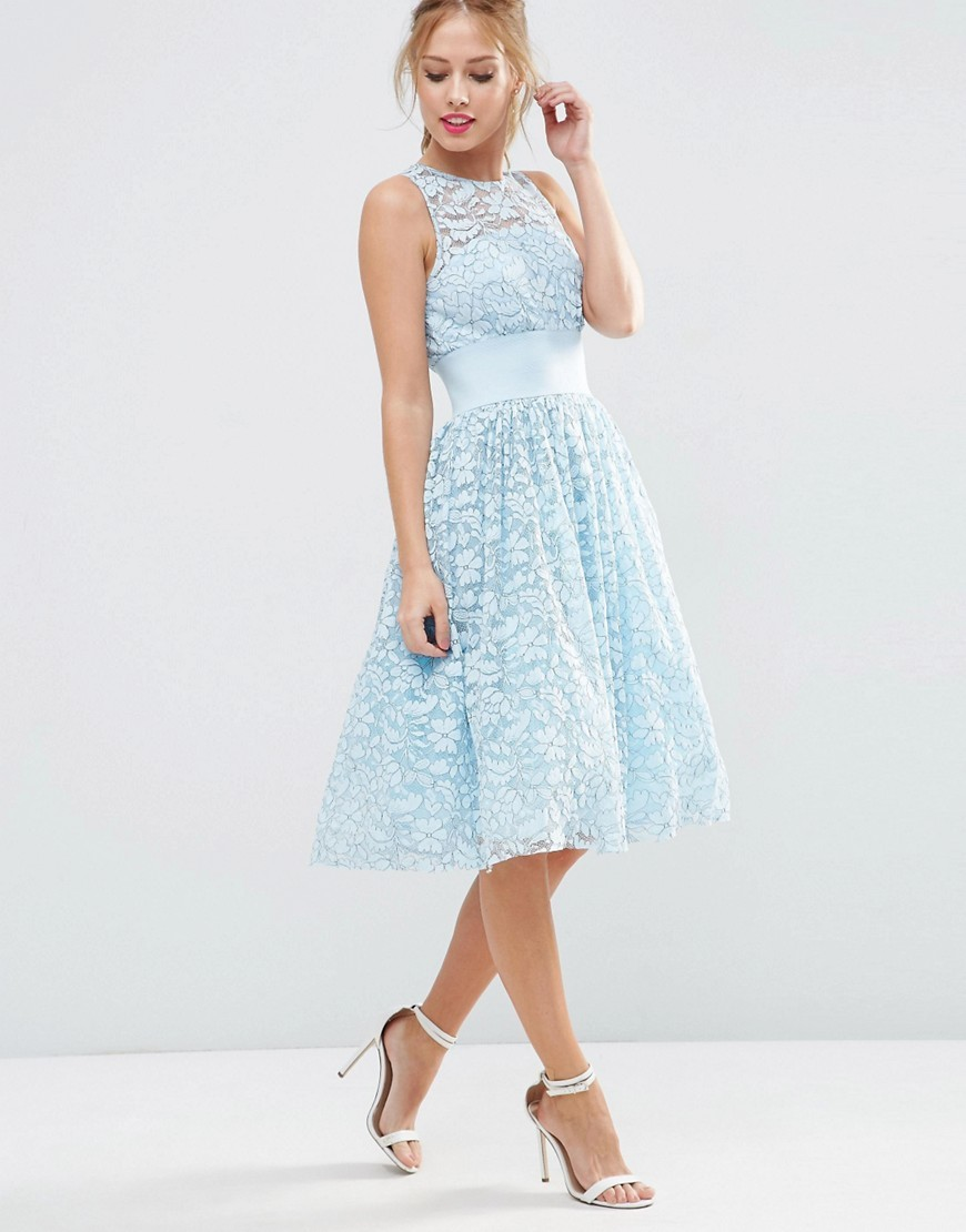 Salon Lace Applique Midi Prom Dress Blue - pattern: plain; sleeve style: sleeveless; predominant colour: pale blue; length: on the knee; fit: fitted at waist & bust; style: fit & flare; fibres: nylon - mix; occasions: occasion; neckline: crew; sleeve length: sleeveless; texture group: lace; pattern type: fabric; season: s/s 2016; wardrobe: event