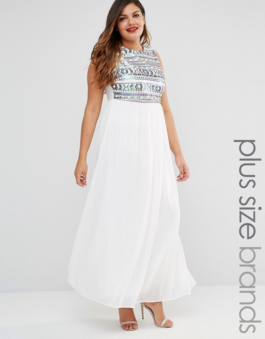 Plus Maxi Dress With Sequin Top White - pattern: plain; sleeve style: sleeveless; style: maxi dress; length: ankle length; bust detail: added detail/embellishment at bust; predominant colour: white; secondary colour: silver; occasions: evening; fit: body skimming; fibres: polyester/polyamide - 100%; neckline: crew; sleeve length: sleeveless; pattern type: fabric; texture group: woven light midweight; embellishment: sequins; season: s/s 2016; trends: shiny surfaces