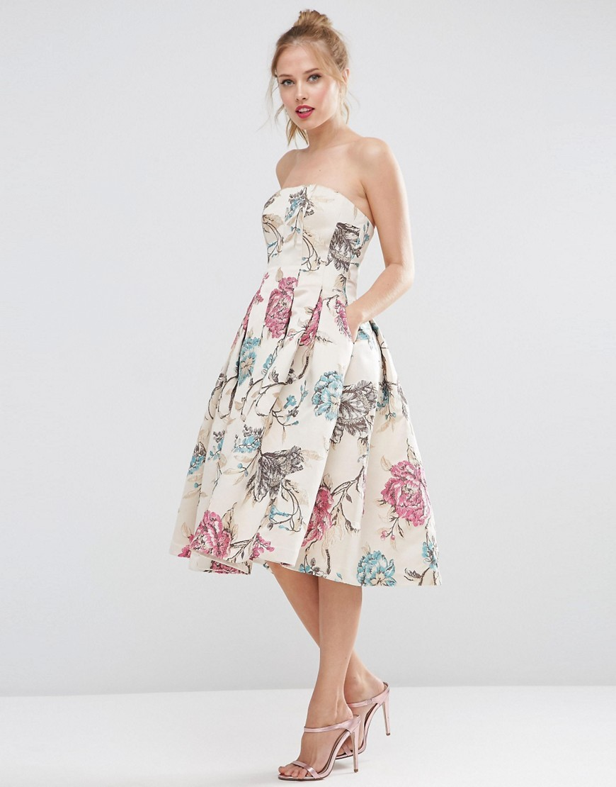Salon Bandeau Jacquard Rose Midi Prom Dress Mink - length: below the knee; neckline: strapless (straight/sweetheart); style: prom dress; sleeve style: strapless; predominant colour: blush; fit: fitted at waist & bust; fibres: polyester/polyamide - 100%; occasions: occasion; hip detail: subtle/flattering hip detail; sleeve length: sleeveless; pattern type: fabric; pattern: patterned/print; texture group: brocade/jacquard; multicoloured: multicoloured; season: s/s 2016; wardrobe: event