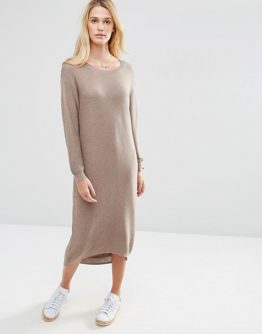Midi Dress In Rib Knit Taupe Marl - style: jumper dress; length: calf length; neckline: round neck; fit: loose; pattern: plain; predominant colour: stone; occasions: casual; fibres: wool - mix; sleeve length: long sleeve; sleeve style: standard; texture group: knits/crochet; pattern type: fabric; season: s/s 2016; wardrobe: basic