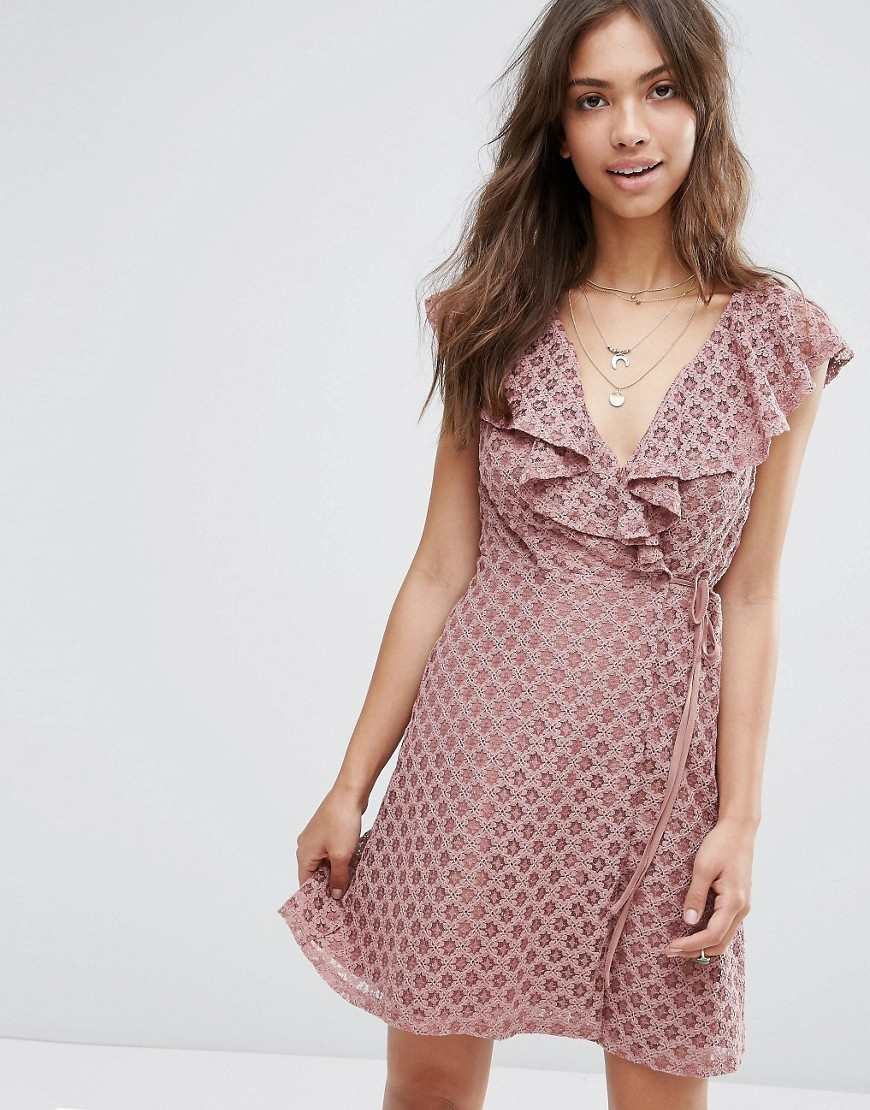 Ruffle Wrap Lace Dress Pink - style: faux wrap/wrap; length: mid thigh; neckline: low v-neck; sleeve style: capped; occasions: evening, occasion; fit: body skimming; fibres: polyester/polyamide - 100%; sleeve length: short sleeve; texture group: lace; bust detail: bulky details at bust; pattern type: fabric; pattern: patterned/print; predominant colour: dusky pink; season: s/s 2016; wardrobe: event
