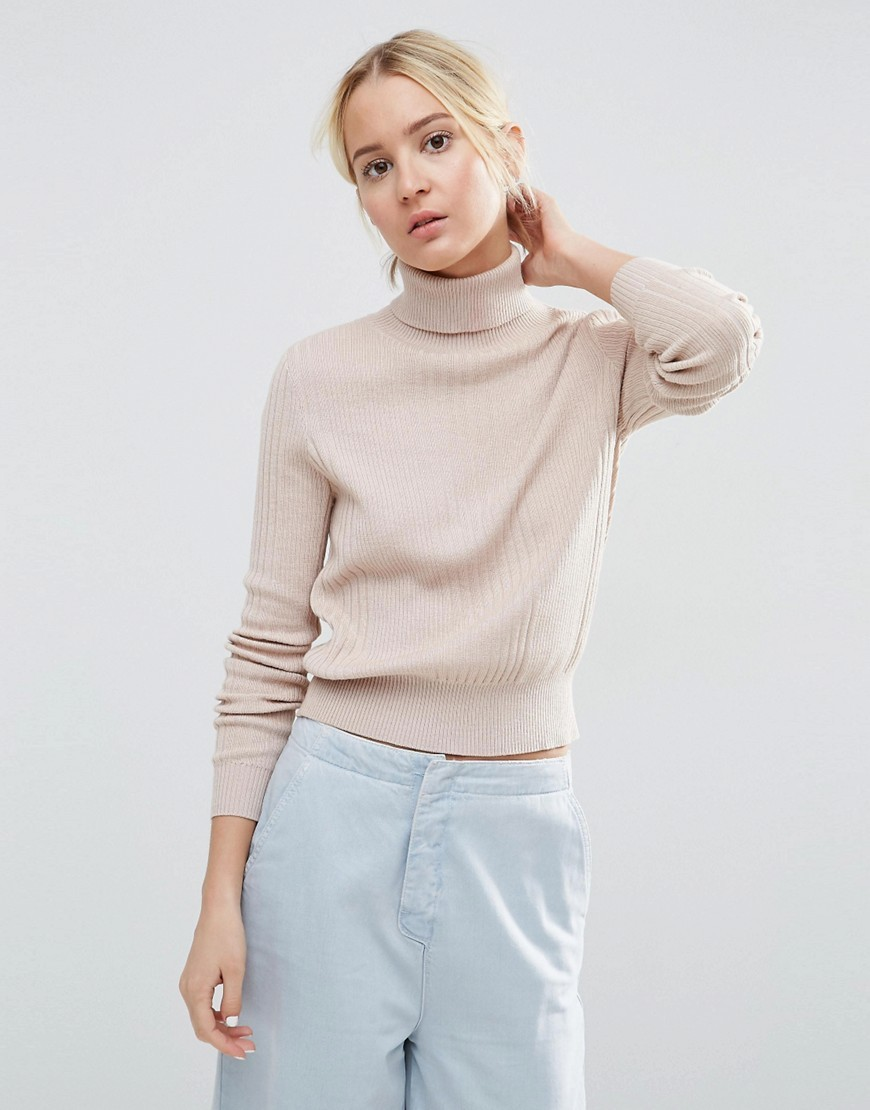 Jumper With High Neck In Rib Mink Marl - pattern: plain; neckline: roll neck; style: standard; predominant colour: nude; occasions: casual, work, creative work; length: standard; fibres: polyester/polyamide - mix; fit: standard fit; sleeve length: long sleeve; sleeve style: standard; texture group: knits/crochet; pattern type: knitted - fine stitch; season: s/s 2016; wardrobe: basic