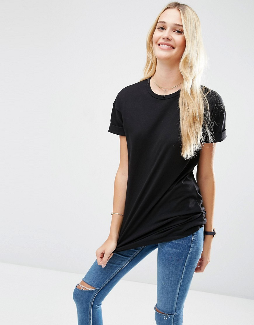 The Ultimate Easy Longline T Shirt Black - pattern: plain; style: t-shirt; predominant colour: black; occasions: casual; length: standard; fibres: cotton - stretch; fit: body skimming; neckline: crew; sleeve length: short sleeve; sleeve style: standard; pattern type: fabric; texture group: jersey - stretchy/drapey; season: s/s 2016