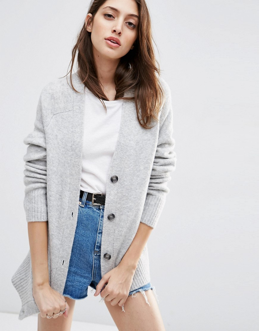 Cardigan In Wool Mix Pale Grey Marl - neckline: v-neck; pattern: plain; length: below the bottom; predominant colour: light grey; occasions: casual, work, creative work; style: standard; fibres: wool - mix; fit: standard fit; sleeve length: long sleeve; sleeve style: standard; texture group: knits/crochet; pattern type: knitted - fine stitch; season: s/s 2016