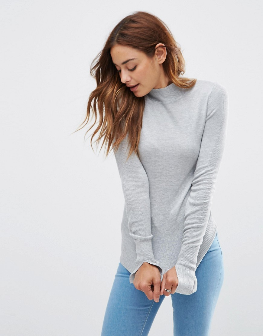Jumper With Turtle Neck In Soft Yarn Mid Grey - pattern: plain; neckline: high neck; style: standard; predominant colour: light grey; occasions: casual, creative work; length: standard; fibres: viscose/rayon - 100%; fit: standard fit; sleeve length: long sleeve; sleeve style: standard; texture group: knits/crochet; pattern type: knitted - fine stitch; season: s/s 2016; wardrobe: basic