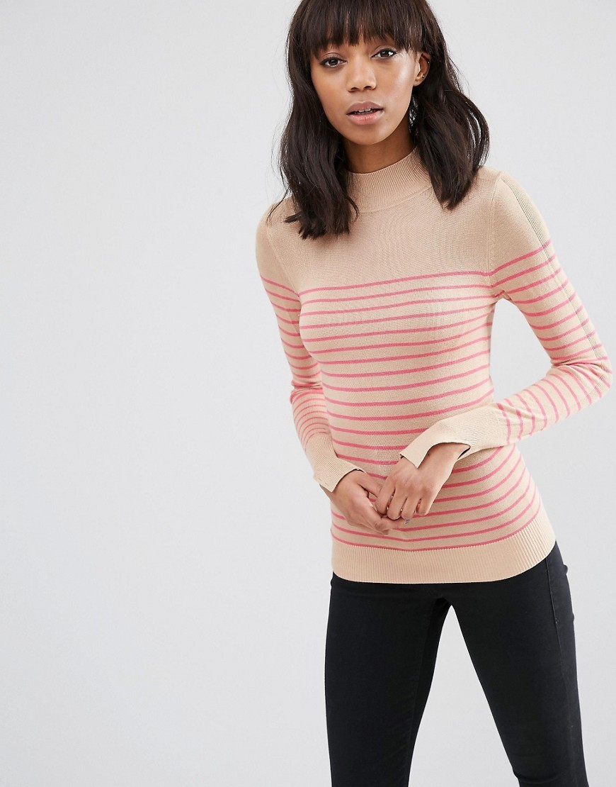 Jumper With Turtle Neck In Stripe In Soft Yarn Multi - pattern: horizontal stripes; style: standard; predominant colour: hot pink; secondary colour: nude; occasions: casual, work, creative work; length: standard; fibres: viscose/rayon - 100%; fit: slim fit; neckline: crew; sleeve length: long sleeve; sleeve style: standard; texture group: knits/crochet; pattern type: knitted - fine stitch; pattern size: big & busy (top); season: s/s 2016; wardrobe: highlight