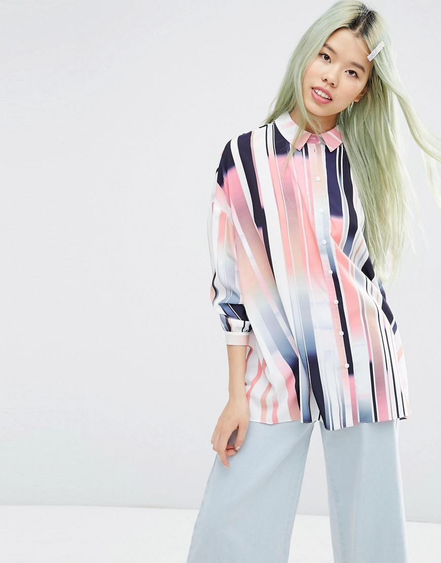Oversized Shirt In Abstract Stripe Multi - neckline: shirt collar/peter pan/zip with opening; pattern: vertical stripes; length: below the bottom; style: shirt; predominant colour: pink; secondary colour: navy; occasions: casual; fibres: polyester/polyamide - 100%; fit: body skimming; sleeve length: long sleeve; sleeve style: standard; pattern type: fabric; texture group: other - light to midweight; multicoloured: multicoloured; season: s/s 2016; wardrobe: highlight