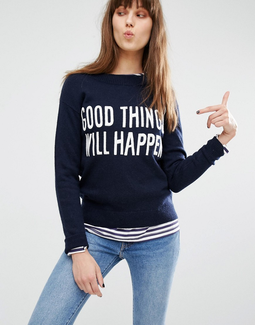 Good Things Will Happen Slogan Jumper Crew Sw Emb - style: standard; secondary colour: white; predominant colour: navy; occasions: casual, creative work; length: standard; fibres: wool - mix; fit: slim fit; neckline: crew; sleeve length: long sleeve; sleeve style: standard; texture group: knits/crochet; pattern type: knitted - fine stitch; pattern size: standard; pattern: graphic/slogan; season: s/s 2016; wardrobe: highlight