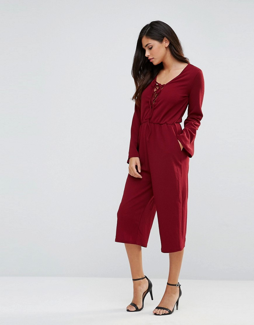 Lace Up Culotte Jumpsuit Wine - fit: fitted at waist; pattern: plain; occasions: casual, evening, holiday; length: calf length; neckline: scoop; fibres: polyester/polyamide - stretch; sleeve length: long sleeve; sleeve style: standard; texture group: crepes; style: jumpsuit; pattern type: fabric; predominant colour: raspberry; season: s/s 2016; wardrobe: highlight