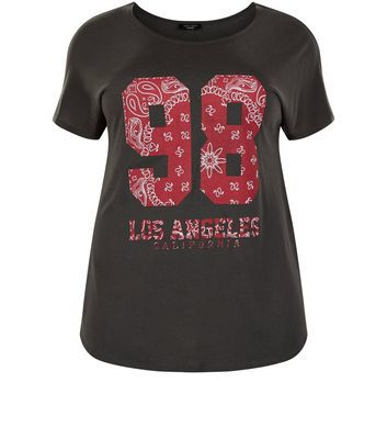 Curves Dark Grey 89 Los Angeles T Shirt - style: t-shirt; secondary colour: true red; predominant colour: black; occasions: casual; length: standard; fibres: cotton - 100%; fit: body skimming; neckline: crew; sleeve length: short sleeve; sleeve style: standard; pattern type: fabric; pattern: patterned/print; texture group: jersey - stretchy/drapey; multicoloured: multicoloured; season: s/s 2016