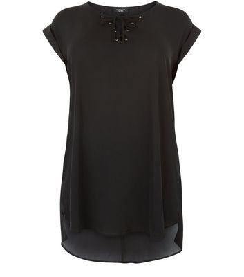 Curves Black Lace Up Dip Hem Tunic Top - neckline: v-neck; pattern: plain; length: below the bottom; style: tunic; predominant colour: black; occasions: casual; fibres: polyester/polyamide - 100%; fit: body skimming; sleeve length: short sleeve; sleeve style: standard; texture group: sheer fabrics/chiffon/organza etc.; pattern type: fabric; embellishment: crystals/glass; season: s/s 2016; wardrobe: highlight