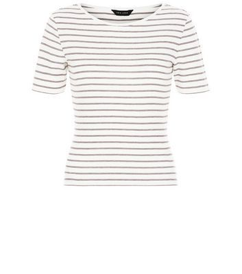 Red Stripe Ribbed T Shirt - pattern: horizontal stripes; style: t-shirt; predominant colour: white; secondary colour: mid grey; occasions: casual; length: standard; fibres: cotton - mix; fit: body skimming; neckline: crew; sleeve length: short sleeve; sleeve style: standard; pattern type: fabric; texture group: jersey - stretchy/drapey; multicoloured: multicoloured; season: s/s 2016; wardrobe: basic