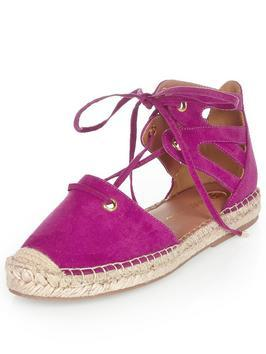 Caged Espadrille Raspberry - predominant colour: hot pink; occasions: casual, creative work; material: suede; heel height: flat; ankle detail: ankle tie; toe: round toe; finish: plain; pattern: plain; style: espadrilles; shoe detail: platform; season: s/s 2016; wardrobe: highlight