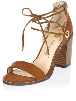 Pellow Update Tie Ankle Block Heel Sandal - predominant colour: tan; occasions: casual; material: suede; heel height: high; ankle detail: ankle tie; heel: block; toe: open toe/peeptoe; style: standard; finish: plain; pattern: plain; season: s/s 2016