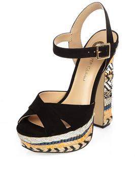 Noella Raffia High Platform Sandal - secondary colour: ivory/cream; predominant colour: black; material: suede; ankle detail: ankle strap; heel: block; toe: open toe/peeptoe; style: strappy; occasions: holiday; finish: plain; pattern: patterned/print; heel height: very high; shoe detail: platform; season: s/s 2016; wardrobe: highlight