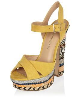Noella Raffia High Platform Sandal Yellow - secondary colour: ivory/cream; predominant colour: yellow; occasions: casual, holiday; material: suede; ankle detail: ankle strap; heel: block; toe: open toe/peeptoe; style: strappy; finish: plain; pattern: patterned/print; heel height: very high; shoe detail: platform; season: s/s 2016; wardrobe: highlight