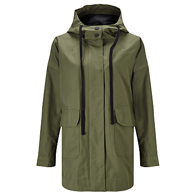 Lightweight Parka Jacket, Khaki - pattern: plain; length: below the bottom; collar: funnel; fit: loose; style: parka; predominant colour: khaki; occasions: casual; fibres: cotton - mix; back detail: back vent/flap at back; sleeve length: long sleeve; sleeve style: standard; texture group: technical outdoor fabrics; collar break: high; pattern type: fabric; season: a/w 2015; wardrobe: basic