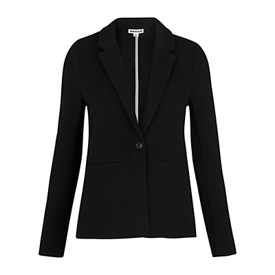 Molly Cotton Jacket - pattern: plain; style: single breasted blazer; collar: standard lapel/rever collar; predominant colour: black; occasions: casual, creative work; length: standard; fit: tailored/fitted; fibres: cotton - 100%; sleeve length: long sleeve; sleeve style: standard; texture group: cotton feel fabrics; collar break: medium; pattern type: fabric; season: s/s 2016; wardrobe: basic
