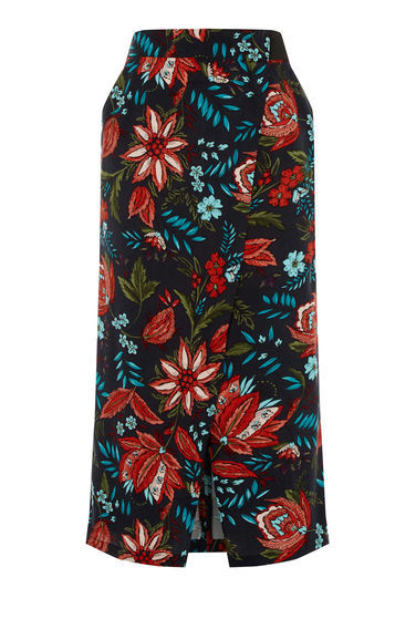 Botanical Drawn Floral Skirt - length: below the knee; style: straight; waist: high rise; secondary colour: true red; predominant colour: black; occasions: casual, creative work; fibres: polyester/polyamide - 100%; fit: straight cut; pattern type: fabric; pattern: florals; texture group: other - light to midweight; pattern size: big & busy (bottom); multicoloured: multicoloured; season: s/s 2016