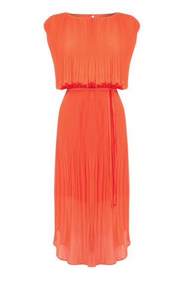 Pleated Curved Hem Dress - style: shift; length: calf length; pattern: plain; sleeve style: sleeveless; waist detail: belted waist/tie at waist/drawstring; predominant colour: bright orange; occasions: evening; fit: body skimming; fibres: polyester/polyamide - 100%; neckline: crew; hip detail: subtle/flattering hip detail; sleeve length: sleeveless; texture group: sheer fabrics/chiffon/organza etc.; pattern type: fabric; season: s/s 2016; wardrobe: event