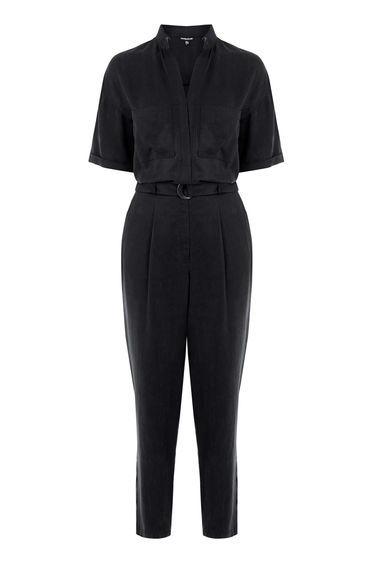 Boiler Jumpsuit - neckline: shirt collar/peter pan/zip with opening; pattern: plain; waist detail: belted waist/tie at waist/drawstring; predominant colour: black; occasions: evening; length: ankle length; fit: body skimming; fibres: viscose/rayon - 100%; sleeve length: half sleeve; sleeve style: standard; texture group: structured shiny - satin/tafetta/silk etc.; style: jumpsuit; pattern type: fabric; season: s/s 2016; wardrobe: event